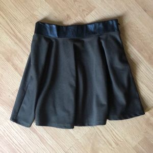 Dresses & Skirts - Army green skater skirt with faux leather waist